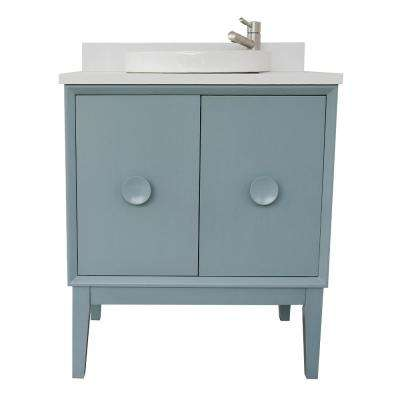 Stora 31 in. W x 22 in. D Bath Vanity in Aqua Blue with Quartz Vanity Top in White with White Round Basin