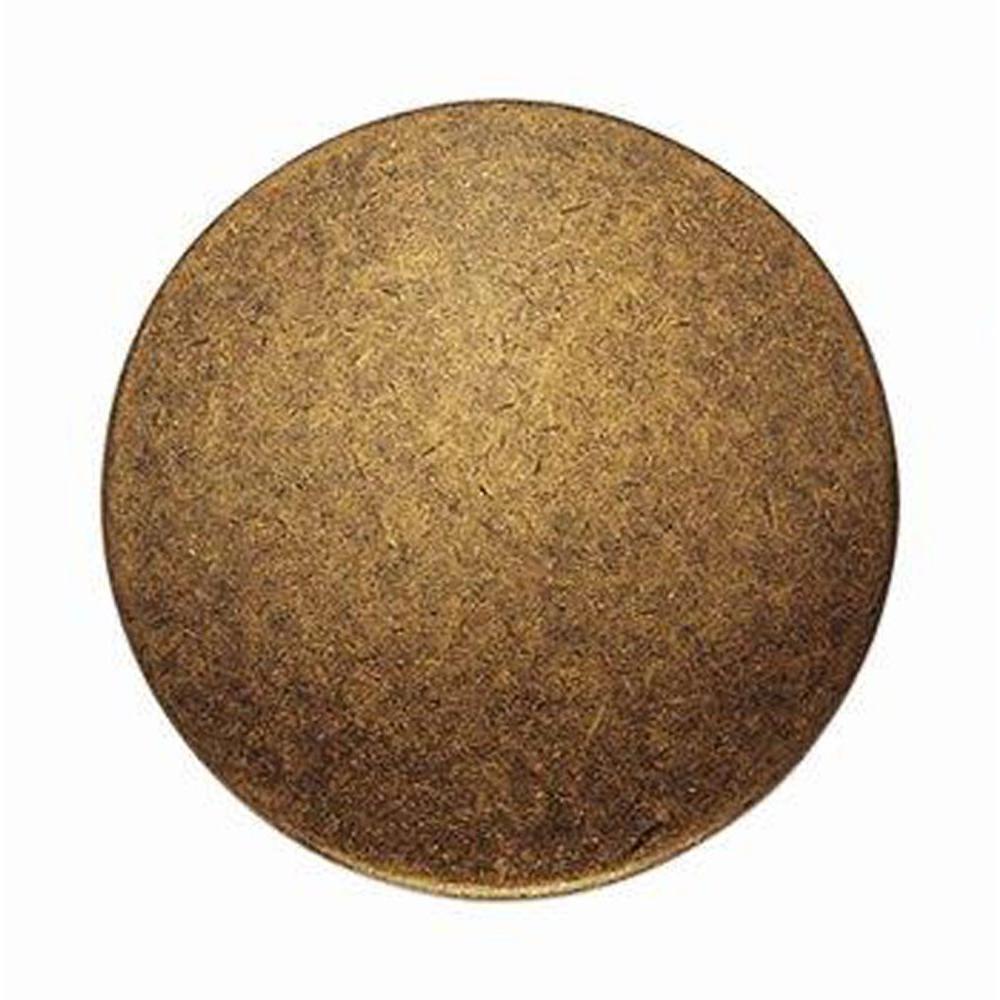 1900 Circa 1.18 in Antique Brass Distressed Round Knob