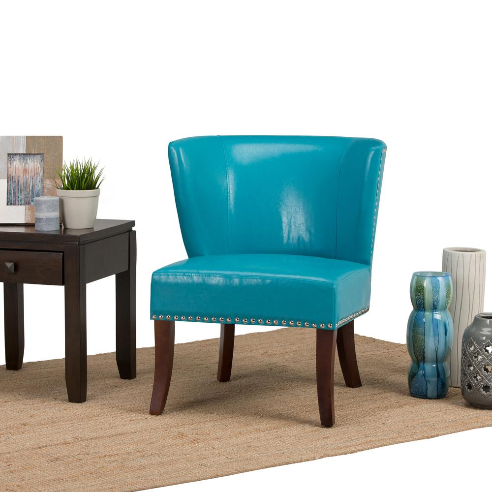 Simpli Home Jamestown Mediterranean Blue Bonded Leather Accent Chair