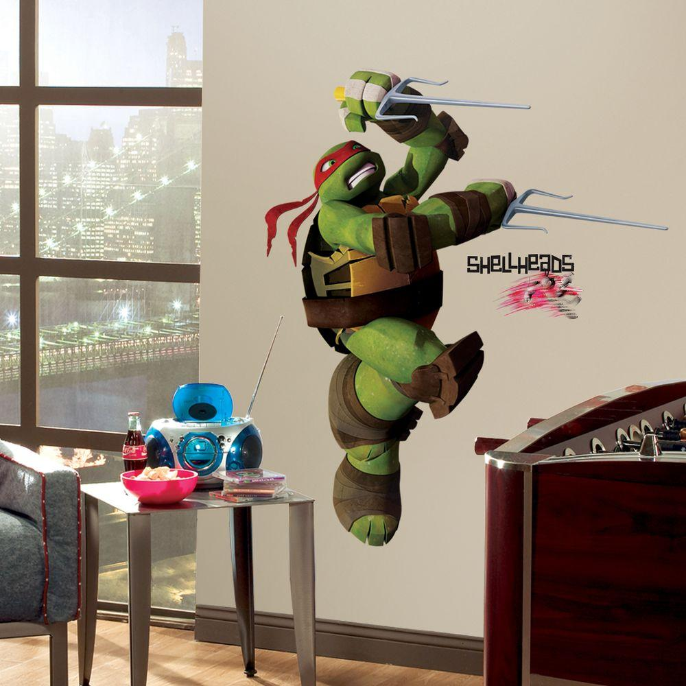 null 5 in. x 19 in. Teenage Mutant Ninja Turtles Ralph Peel and Stick Giant Wall Decals