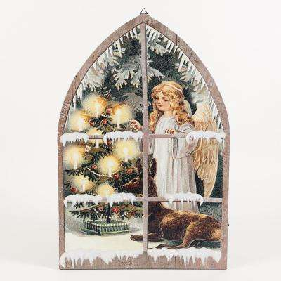 24 in. Angel in Window Canvas Print LED Light