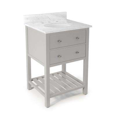 Harrison 25 in. W x 22 in. D Vanity in Gray with Marble Vanity Top in White with White Basin
