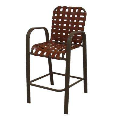 Marco Island Brownstone Commercial Grade Aluminum Bar Height Patio Dining Chair with Saddle Cross Vinyl Straps