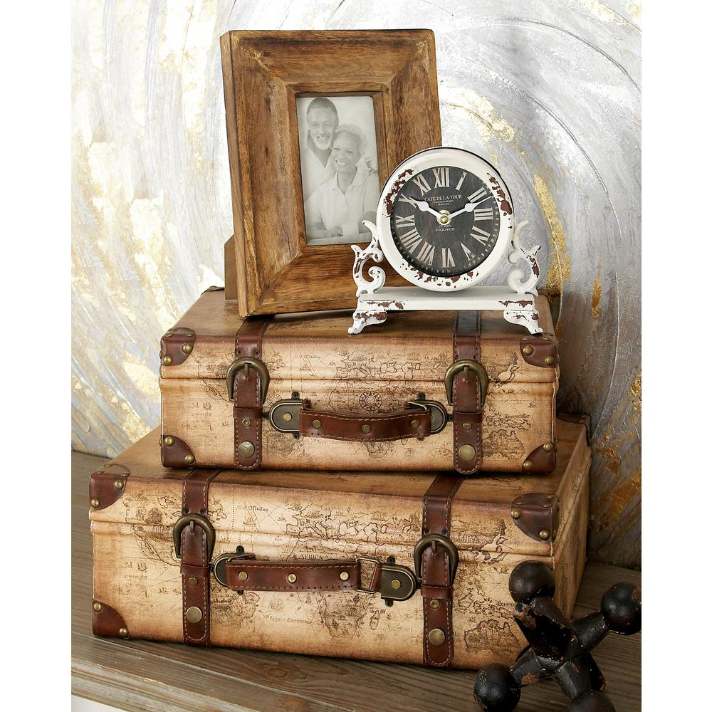 Vintiquewise 17 in x 12 in x 6 in wood and faux leather old world tan and brown suitcase style mdf wood and synthetic leather mariners map gumiabroncs Gallery