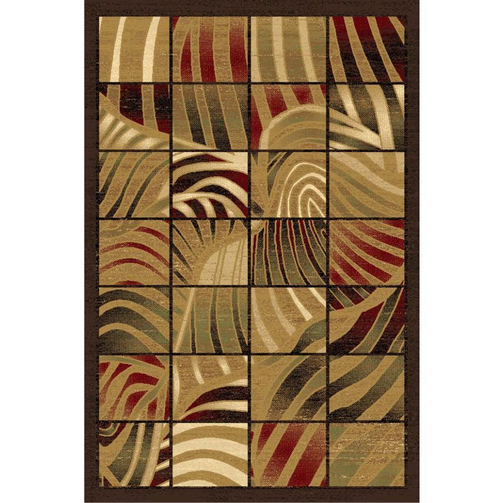 LA Rug Zebra Stripes Design Multi-color Melange Collection 8 ft. x 11 ft., Indoor Area Rug