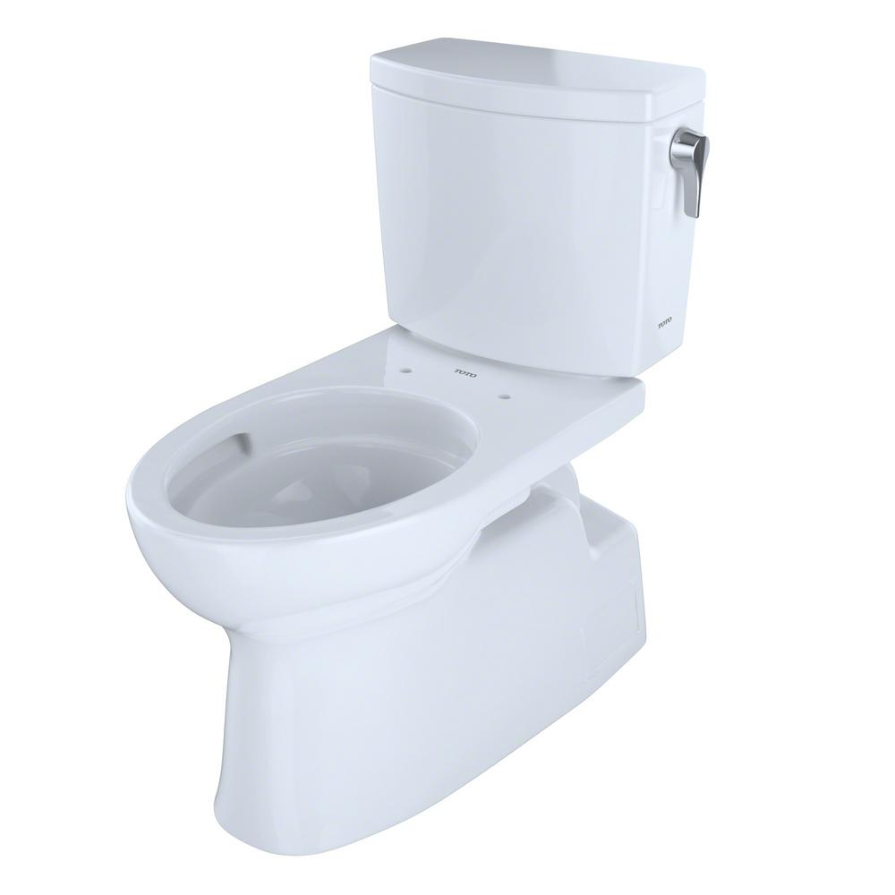 TOTO Vespin II 2-Piece 1.0 GPF Single Flush Elongated Toilet with CeFiONtect and Right Hand Trip Lever in Cotton White