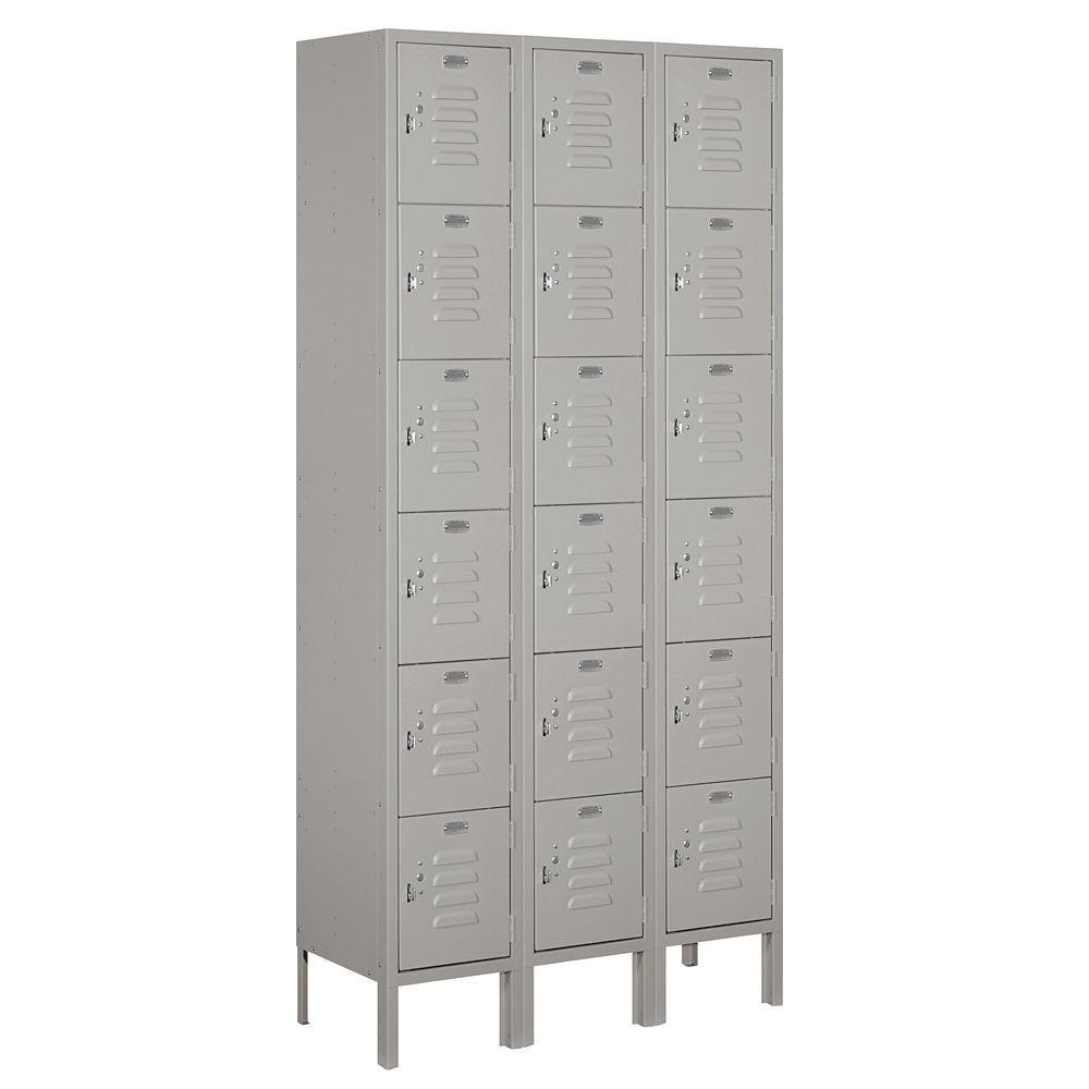 66000 Series 36 in. W x 78 in. H x 12 in. D 6-Tier Box Style Metal Locker Unassembled in Gray