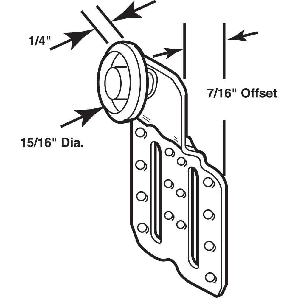 Slide-Co 16202-B Closet Door Roller Assembly Offset 3//4 in Convex Edge Ball Bearing Plastic Wheel 1//2 in