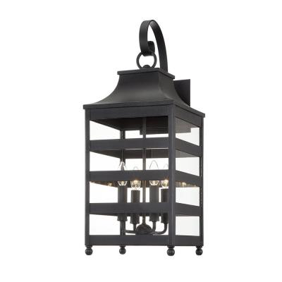 Holstrom Forged Iron 4-Light Wall Sconce with Clear Glass Shade