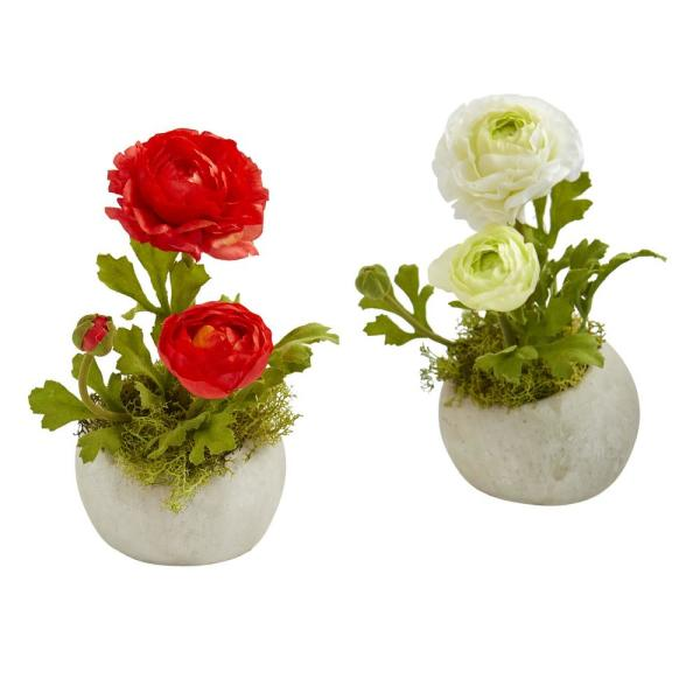 Nearly Natural Indoor Ranunculus Artificial Arrangement (Set of 2) 1778-S2-RW