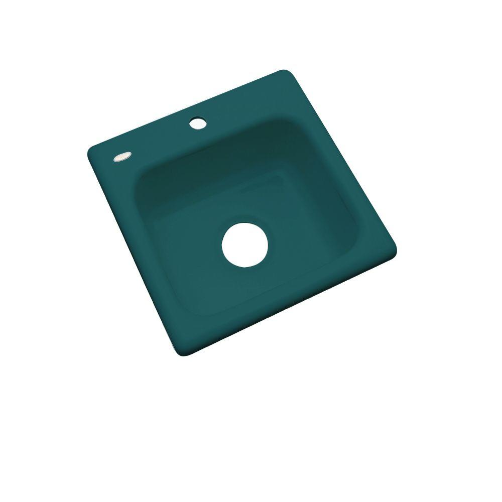 Thermocast Manchester Drop-In Acrylic 16 in. 1-Hole Single Basin Entertainment Sink in Teal