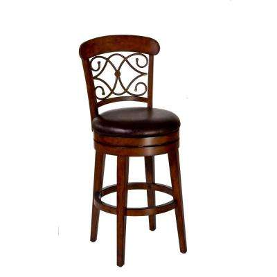 Bergamo 30 in. Distressed Medium Brown Swivel Cushioned Bar Stool