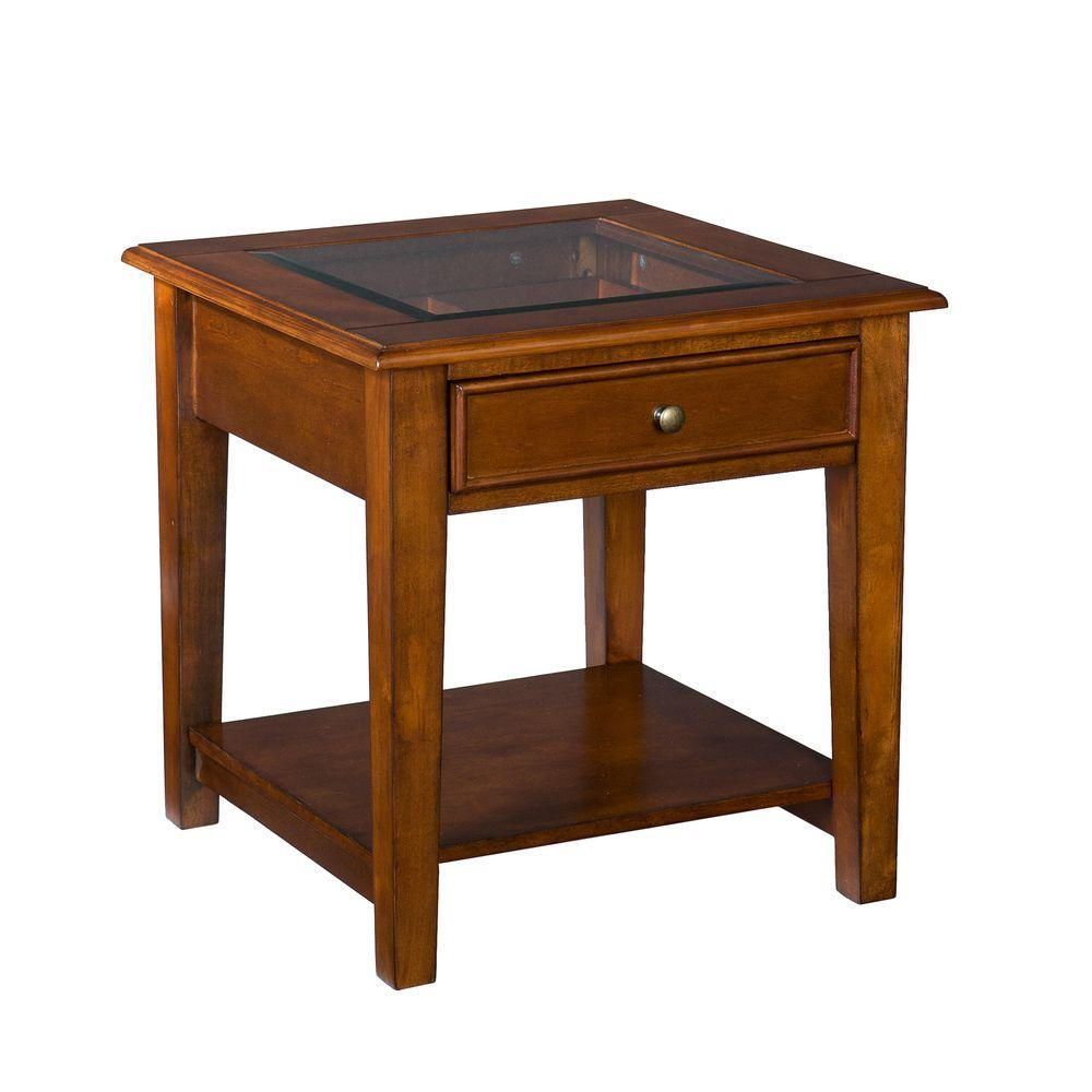 Home Decorators Collection Panorama Walnut Display End Table-DISCONTINUED