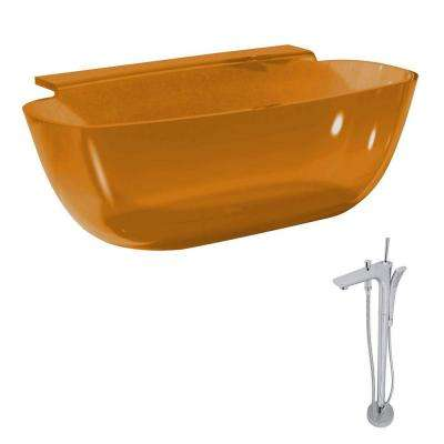 Vida 62 in. Man-Made Stone Classic Flatbottom Non-Whirlpool Bathtub in Honey Amber and Kase Faucet in Chrome