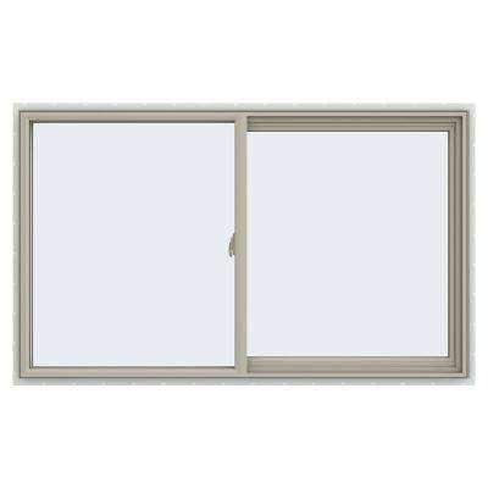 59.5 in. x 35.5 in. V-2500 Series Desert Sand Vinyl Right-Handed Sliding Window with Fiberglass Mesh Screen