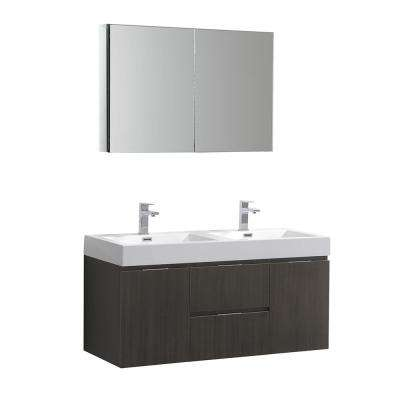 Valencia 48 in. W Wall Hung Vanity in Gray Oak with Acrylic Double Vanity Top in White with White Basin,Medicine Cabinet