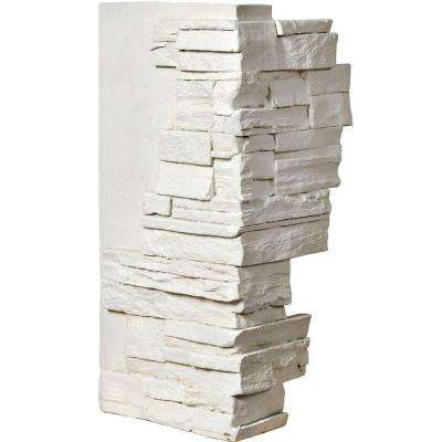 1-1/2 in. x 12 in. x 25 in. Dove White Urethane Dry Stack Stone Outer Corner Wall Panel