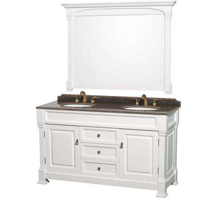 Andover 60 in. W x 23 in. D Vanity in White with Granite Vanity Top in Imperial Brown with White Basins and Mirror