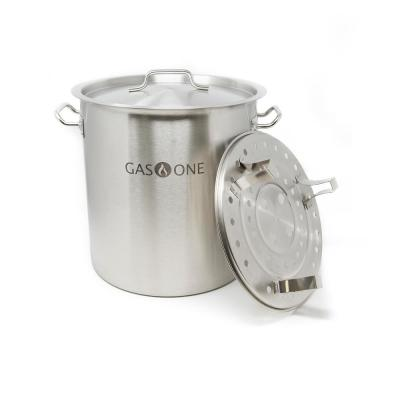 32 Qt. Stainless Steel Stock Pot with Perforated Steamer Rack and Lid