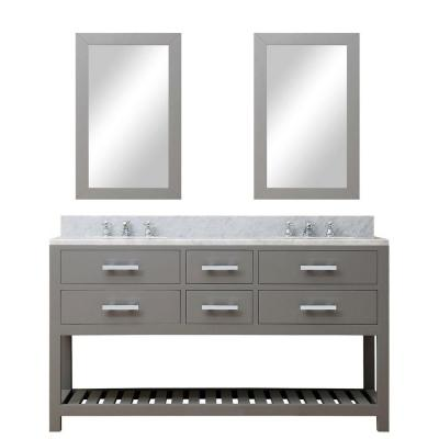 60 in. W x 21.5 in. D Vanity in Cashmere Grey with Marble Vanity Top in Carrara White, 2 Mirrors and Chrome Faucets