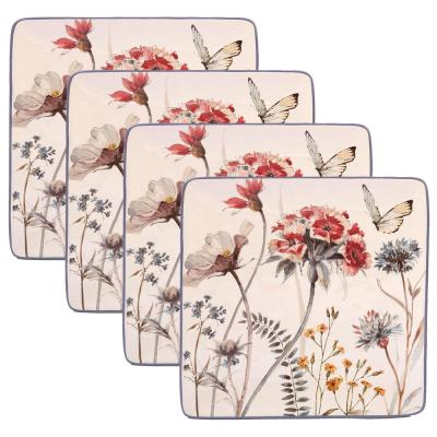 Country Fresh 4-Piece Traditional Multi-Colored Ceramic Dinner Plate Set (Service for 4)
