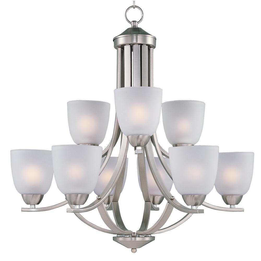 Maxim lighting nova 5 light satin nickel chandelier 11044mrsn axis 9 light satin nickel chandelier with frosted shade arubaitofo Image collections