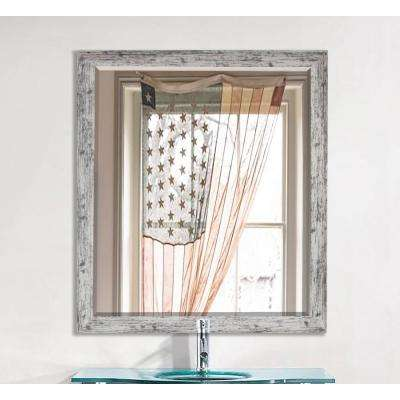 35.5 in. x 35.5 in. Weathered White Farmhouse Square Beveled Mirror