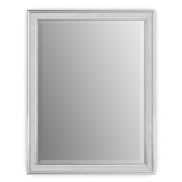 28 in. W x 36 in. H (M1) Framed Rectangular Deluxe Glass Bathroom Vanity Mirror in Chrome and Linen