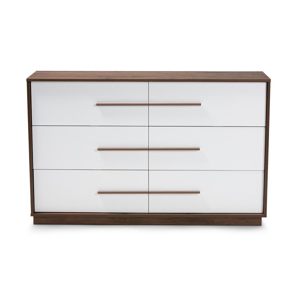 Mette 6-Drawer White and Walnut Dresser
