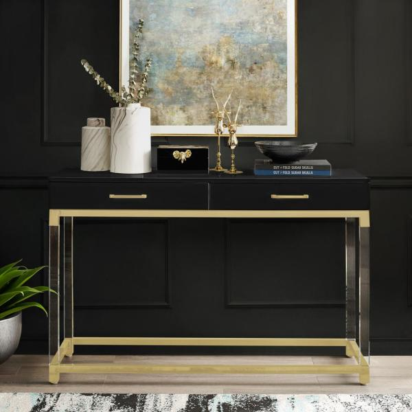 Electrical Home Design Ideas: Inspired Home Caspian Black/Gold Console Table With High