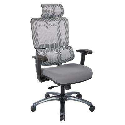 Grey Mesh Vertical Back Office Chair