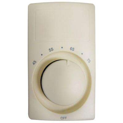 M600 Series Anticipating Almond Bimetal Double-Pole 22 Amp Wall Thermostat