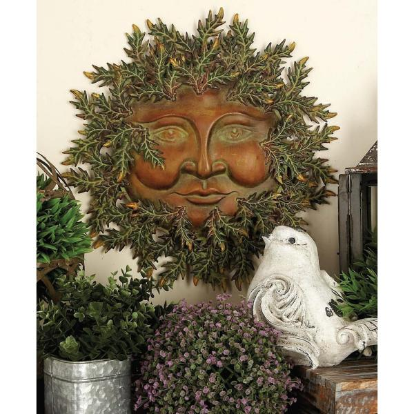 Litton Lane 20 in. Iron Sun-Inspired Wall Plaque with Solar Ray
