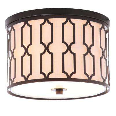 Link 2-Light 12.75 in. Metal LED Flushmount, Oil Rubbed Bronze