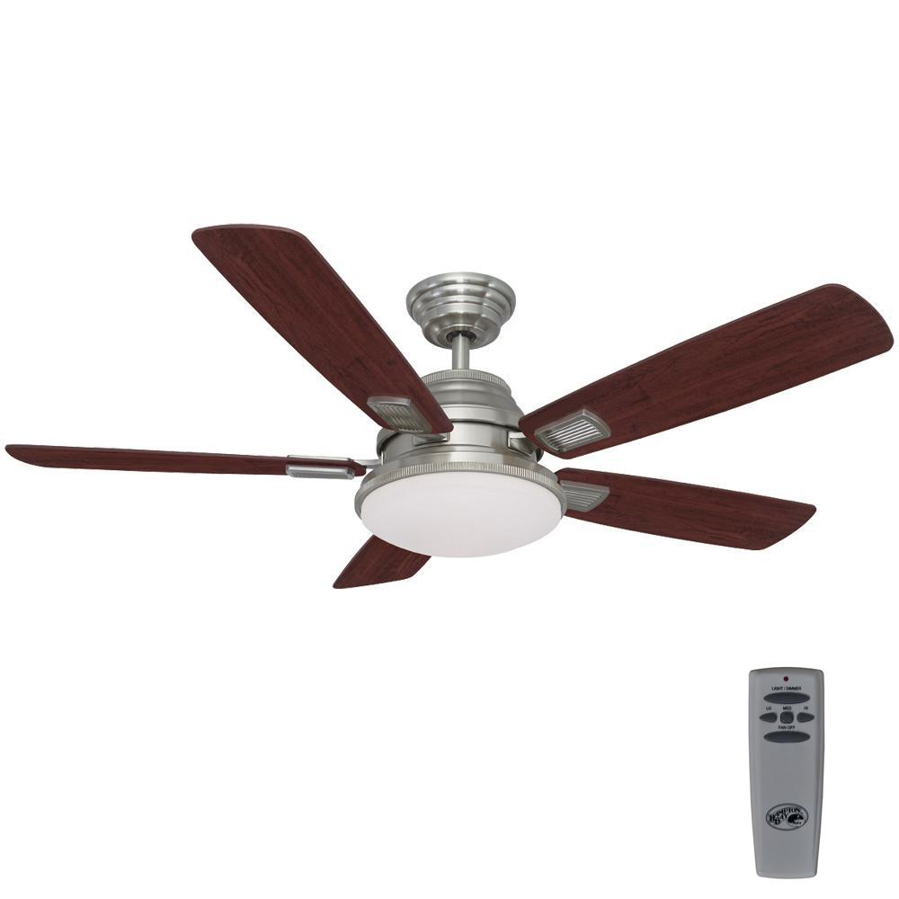 Hampton Bay Latham 52 In Led Indoor Brushed Nickel Ceiling Fan With Light Kit And