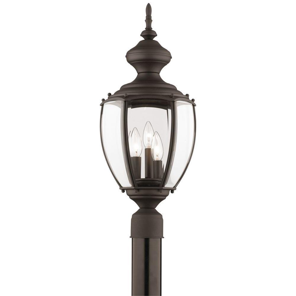 Thomas Lighting Park Avenue 3-Light Outdoor Black Post Lantern-DISCONTINUED