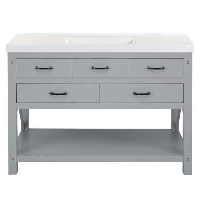 Avondale 49 in. W x 22 in. D Bath Vanity in Grey with Cultured Marble Vanity Top in White with White Sink