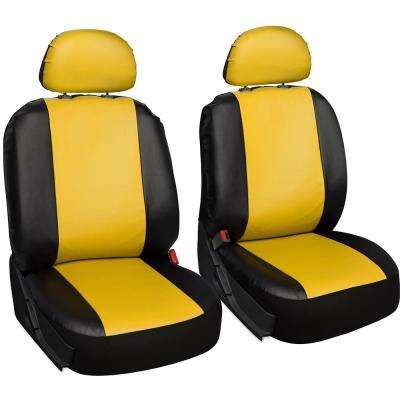 Polyurethane Seat Covers 21.5 in. L x  21 in. W x 31 in. H  Seat Cover Set in Yellow and Black (6-Piece)