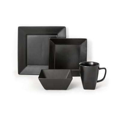 Quad 16-Piece Black Dinnerware Set