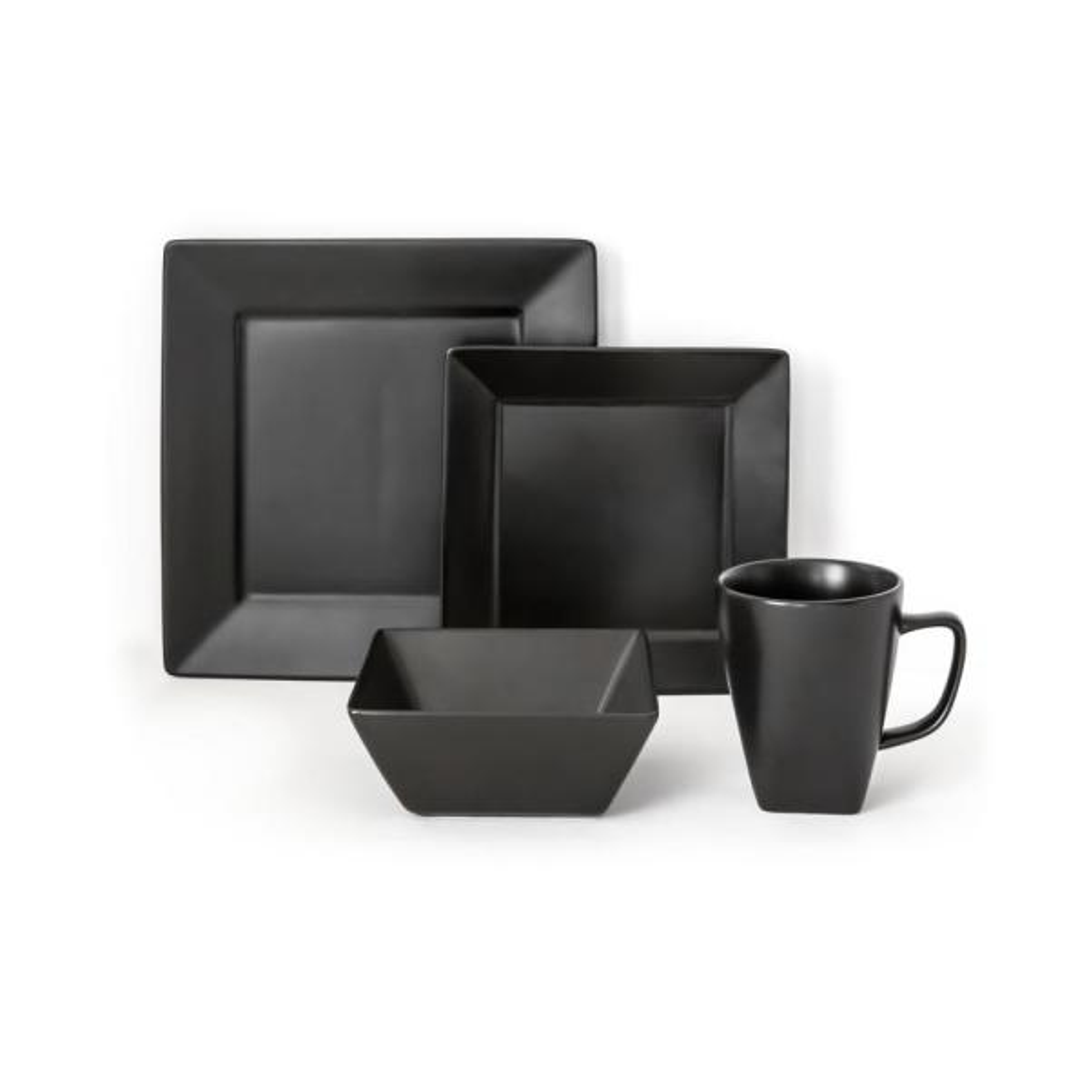 Quad 16-Piece Black Dinnerware Set