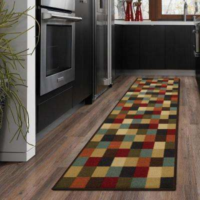 Ottohome Collection Contemporary Checkered Design Multicolor 2 ft. X 7 ft. Runner Rug