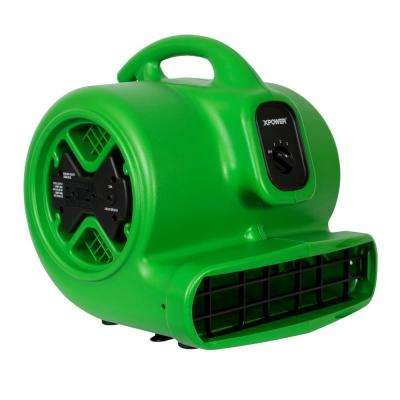 X-600A 1/4 HP 1600 CFM 3-Speed Air Mover Carpet Dryer Floor Blower Fan in Green