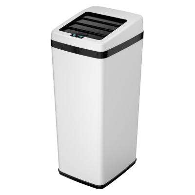 14 Gal. White Motion Sensing Touchless Trash Can