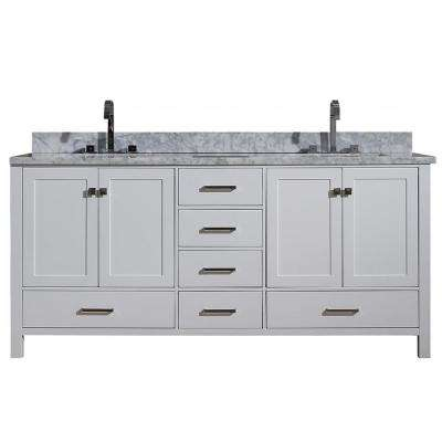 Cambridge 73 in. Bath Vanity in White with Marble Vanity Top in White with White Basins