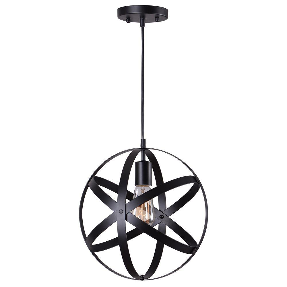 Home Decorators Collection 1 Light Black Orb Mini Pendant With Metal Strap Design