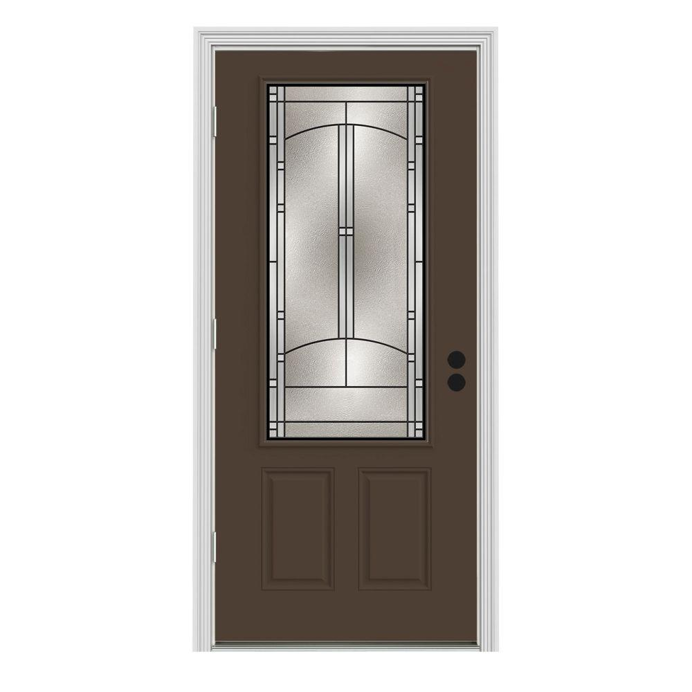 Jeld wen 36 in x 80 in 3 4 lite idlewild dark chocolate painted steel prehung right hand 36 x 80 outswing exterior door