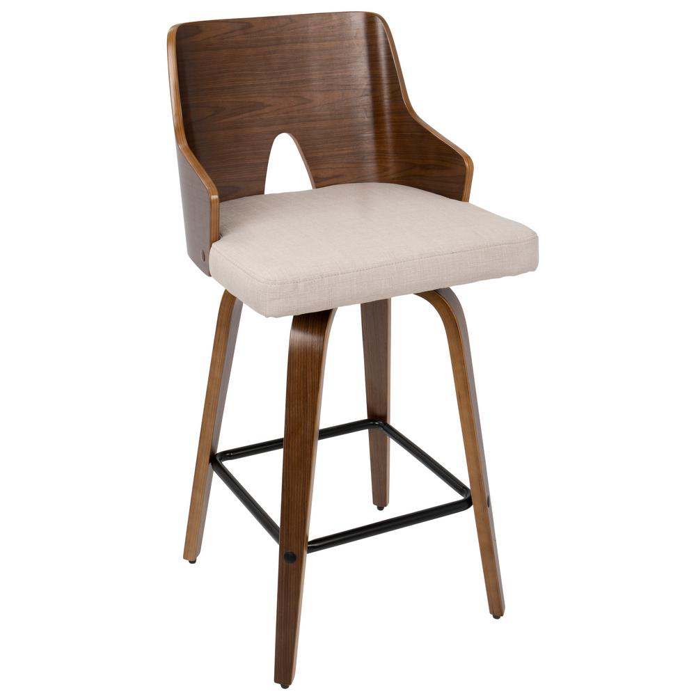 Lumisource Ariana 26 In Walnut And Beige Counter Stool
