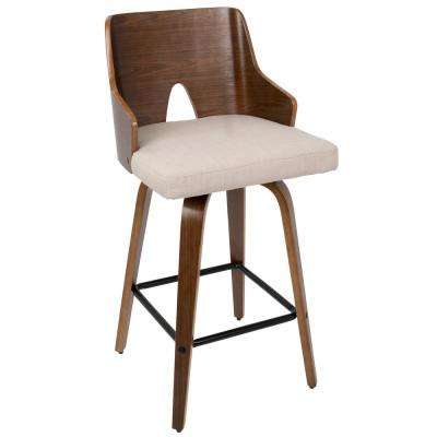 Ariana 26 in. Walnut and Beige Counter Stool
