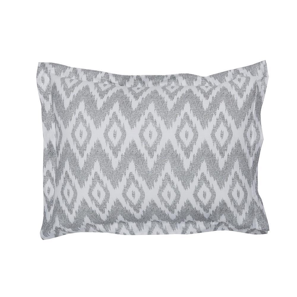 Ikat Diamond Gray Cotton Percale Standard Sham