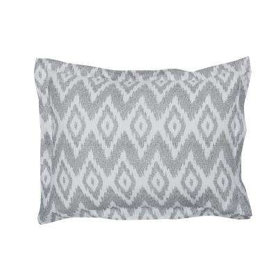 Ikat Diamond Gray Cotton Percale Standard Sham